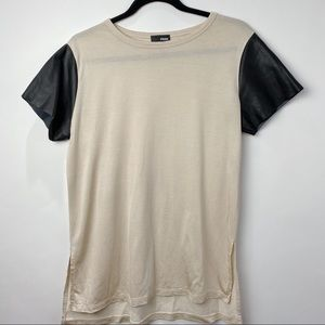 Aritzia Wilfred Free tee with faux leather sleeves